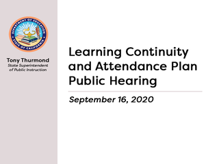 2020-21 Learning Continuity and Attendance Plan (Public Hearing)